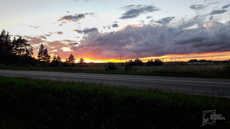 Zachód słońca, rowerowa trasa Green Velo Białystok - Supraśl