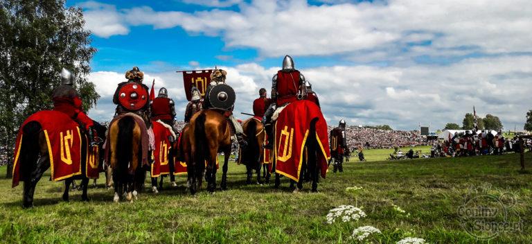 Inscenizacja bitwy pod Grunwaldem, konie i rycerze