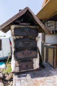 Piec na podpłomyki, kramy przy Grunwaldzie