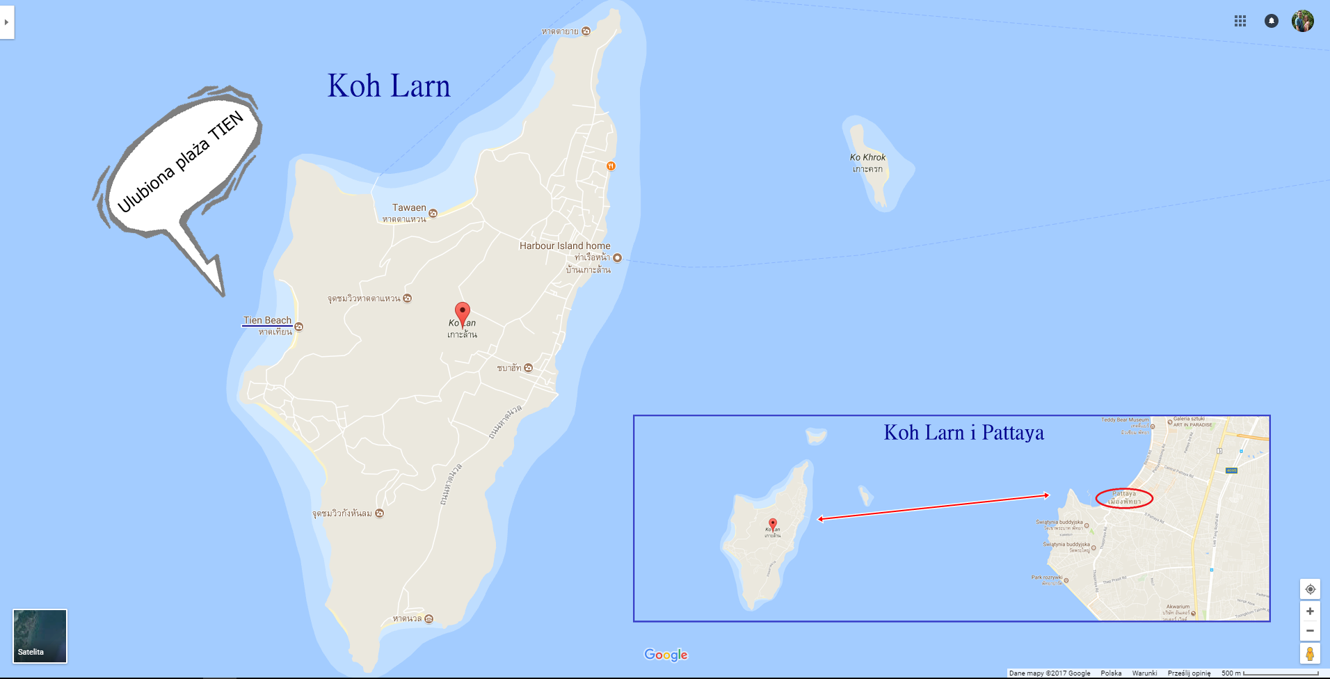 Pattaya - Koh Larn - mapa | prom na wyspę