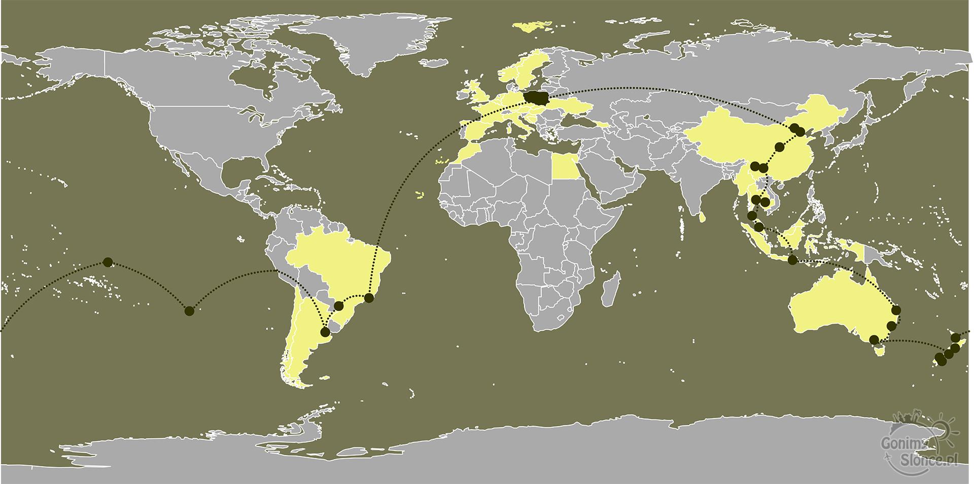 mapa podróży dookoła świata - gonimyslonce.pl