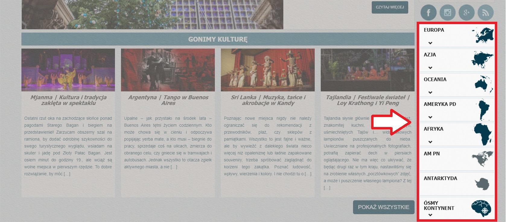 Mapa bloga Gonimyslonce | kontynenty