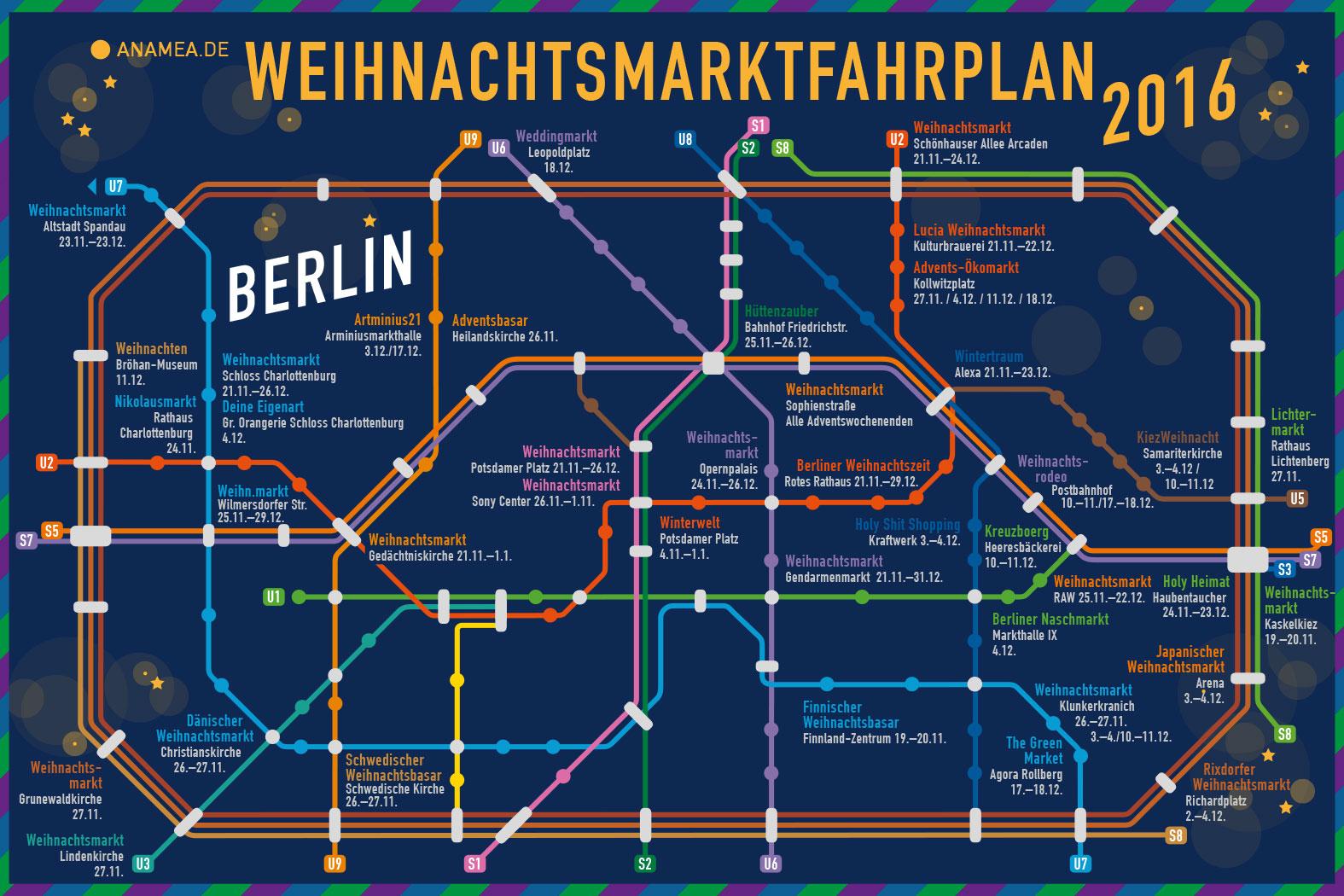 Berlińskie Jarmarki świąteczne - mapa