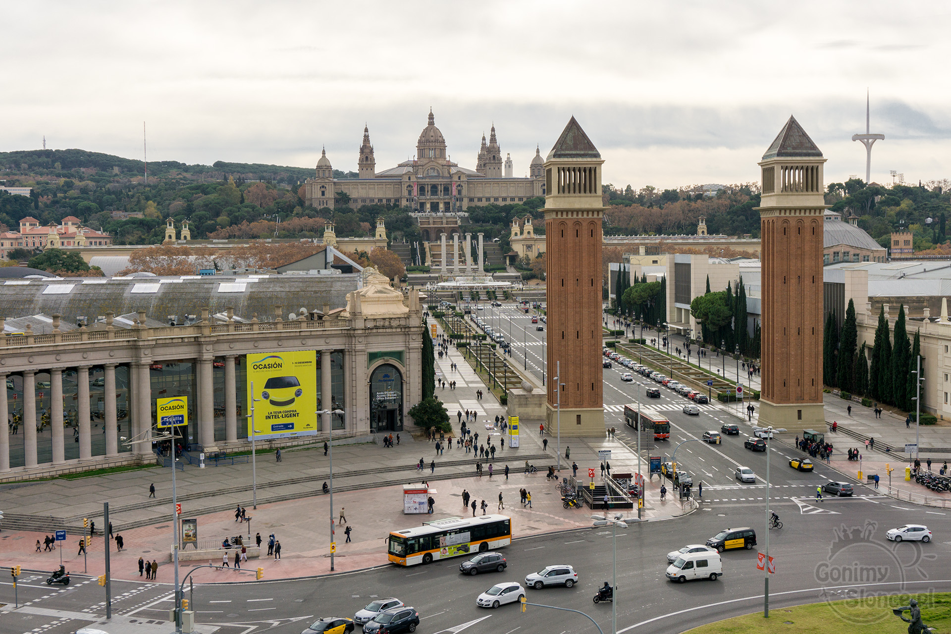 Widok na Plac Hiszpański i Montjuïc, Barcelona