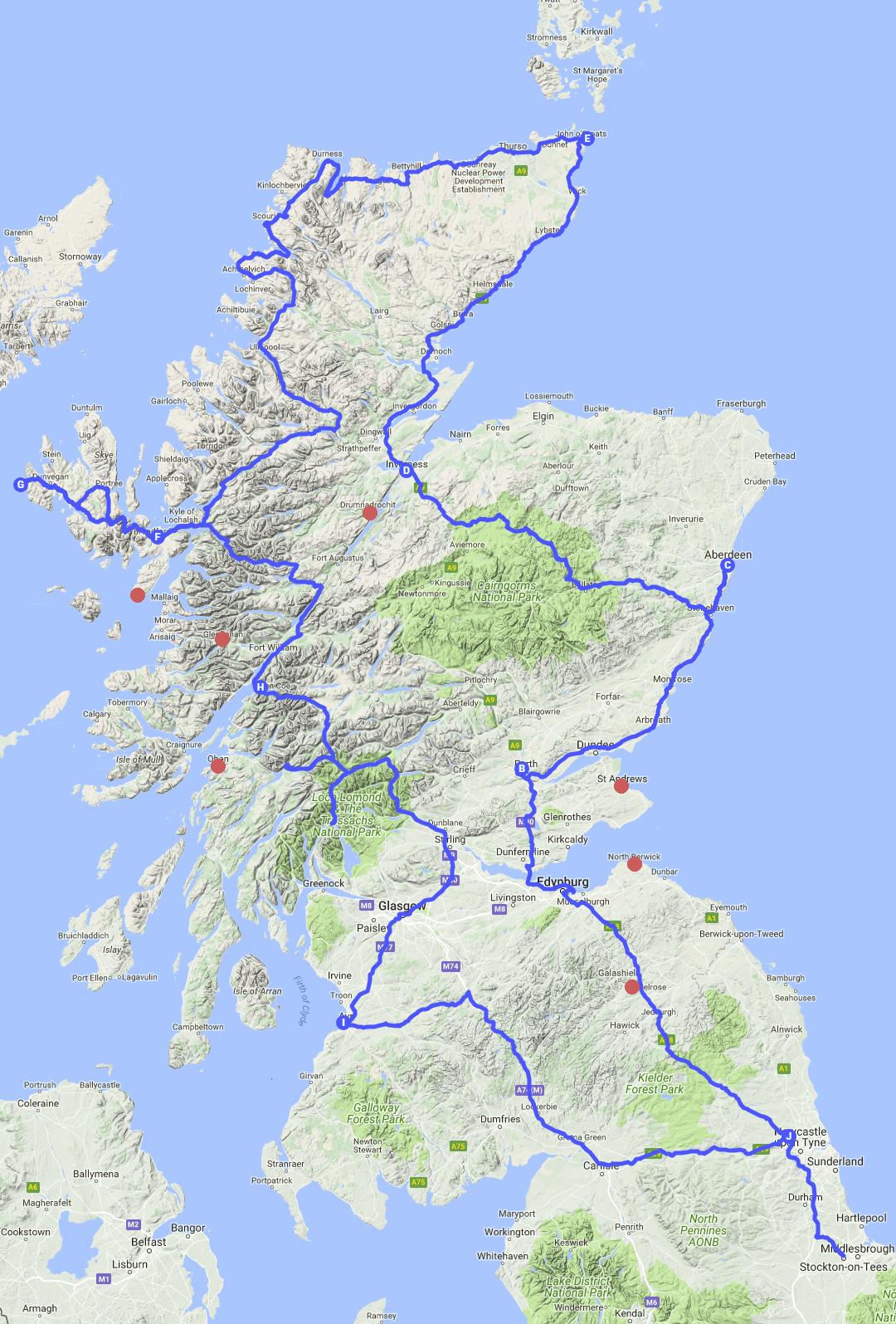Mapa Szkocji, road trip dookoła Szkocji
