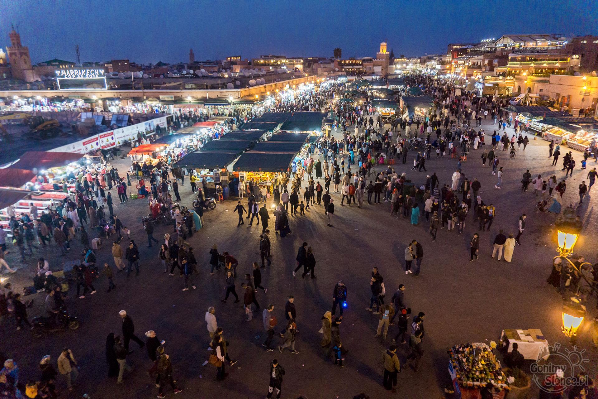 Plac Dżemaa el-Fna, Marrakesz nocą