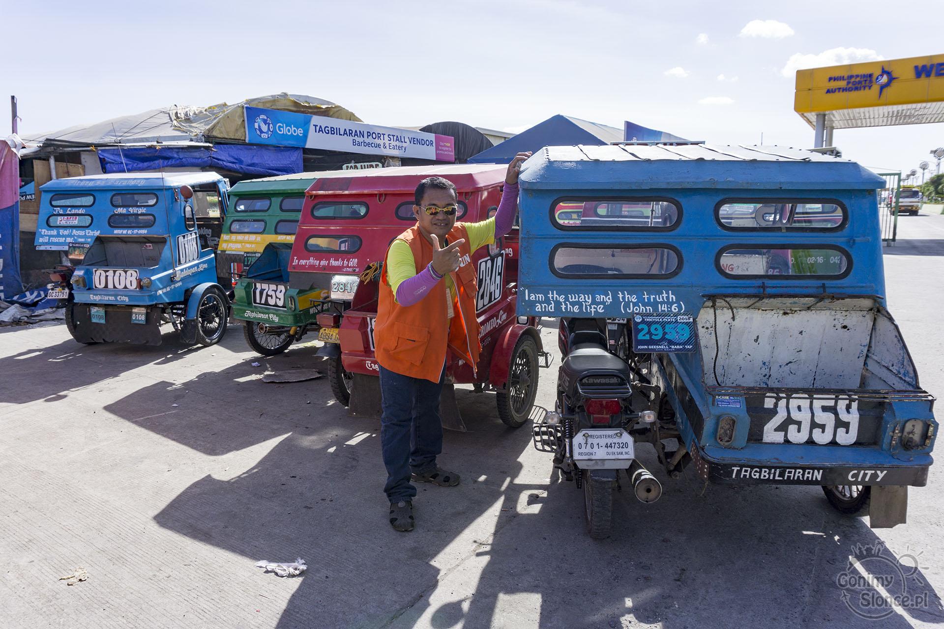 Filipiny - tuk tuki z cytatami z Biblii - Bohol, Panglao